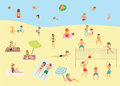 People relaxing on the summer beach. Vector illustration