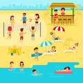 People are resting on the beach, summer vacation by the sea vector flat illustration.