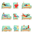 People Resting At Home Relaxing On Sofa Or Armchair Having Lazy Free Time And Rest Set Of Illustrations Royalty Free Stock Photo