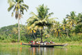 People resting on the shade of a palm tree alleppey india january at backwaters alleppey india Royalty Free Stock Image