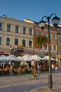 People resting in the street cafe in Rzeszow, Poland Royalty Free Stock Photo