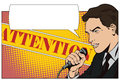 People in retro style pop art and vintage advertising. A man with a microphone Royalty Free Stock Photo