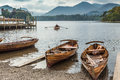 People row a boat on Derwent Water Royalty Free Stock Photo