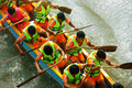 People rowing dragon boat in racing Royalty Free Stock Photo