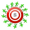 People running around a dollar target Royalty Free Stock Photography