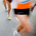 People running in city marathon Stock Photography