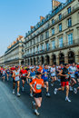 People running paris marathon france Royalty Free Stock Photography