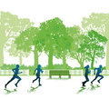 People running in park illustration of silhouetted with green trees background Royalty Free Stock Image
