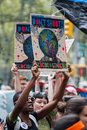 People s climate march nyc protesters at the in new york city september Stock Image