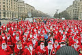 People at the santa world record in bucharest Royalty Free Stock Photography