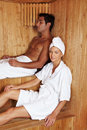 People in sauna Stock Photography
