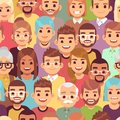 People seamless pattern. Multi ethnic men and women. African, european and asian humans, multicultural crowd, vector