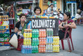 People selling coldwater on street in hoi an vietnam Royalty Free Stock Image
