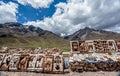 People selling rugs at La Raya market, Cusco, Peru Royalty Free Stock Photo