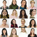 People Set of Diversity Women with Smiling Face Expression Studio Collage