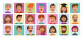 People set of icons. Avatar profile, person, human face symbol, sign or logo. Cartoon vector illustration