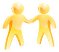 People shaking hands concept two gold human figures Stock Photo