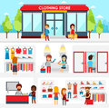 People shopping in the clothing store. Shop Interior. Colorful vector illustration design, infographic elements, banners