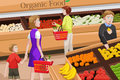 People shopping for organic food a vector illustration of at an aisle in a grocery store Royalty Free Stock Images