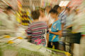 People shopping in the supermarket the fuzzy movement movement。 Stock Photo