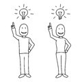People showing bright idea concept and light bulb above heads in hand drawn style. Royalty Free Stock Photo