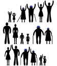 People silhouette family icon. Person vector woman, man. Child, grandfather, grandmother generation illustration.