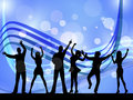 People silhouette indicates disco music and celebration dancing showing Royalty Free Stock Photos