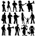 People silhouettes set black on white background Royalty Free Stock Photo