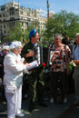 People sing songs on the street victory day celebration may in moscow Stock Photo