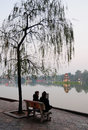People sitting and chatting at the park in Hanoi, Vietnam Royalty Free Stock Photo