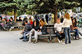 People sitting on a park bench in Bitola Royalty Free Stock Photo