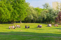 People sitting at park Royalty Free Stock Photo