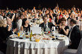 People sitting at the tables during ceremony of rewarding moscow apr winners an award brand year effie on april in Stock Images