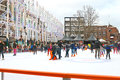 People skate rink dutch city eindhoven netherlands Royalty Free Stock Photos