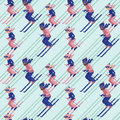 People skiing seamless pattern