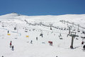 People skiing on sierra nevada mountains fun and activities ski resort in spain as of th of march Stock Image
