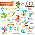 People social community d icon and symbol pack vector design elements change color of icons in accordance to your logo vol Stock Photos