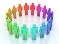 People social network d render colorful close up Royalty Free Stock Photo
