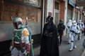 People of st legion take part in the star wars parade in milan italy january official costuming organization wearing perfectly Royalty Free Stock Photography