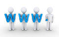 People stand together to form an internet concept d holding www letters as Royalty Free Stock Photo