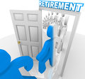 People stepping through the retirement doorway to retire a line of and workers a marked and change color becoming transformed Royalty Free Stock Photo