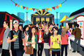 People in street food festival a vector illustration of having fun Stock Image