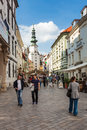 People in the street in old town bratislava slovakia near main square is most populous and most visited city Stock Image