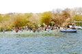 People swim in the Nile river. Aswan, Egypt