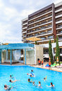 People swim in pool and doing water aerobics. Hotel Flamingo Hotel. Albena