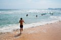 People swim in the sea on a hot summer day Royalty Free Stock Photo