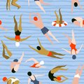 People swimming pattern. Summer seamless background. Summertime vector illustration with swimmers.