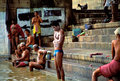 People taking the morning ritual bath in varanasi india april unidentified on one of famous ghat of india Royalty Free Stock Photography