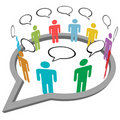 People talk meet inside social media speech Royalty Free Stock Images