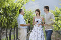 People tasting red wine in vineyard happy young couple with merchant holding bottle Stock Photos